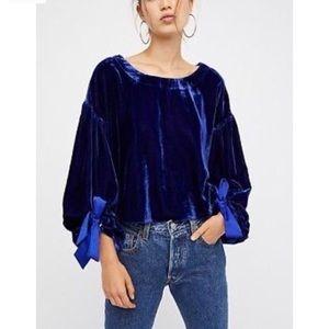 Free People Sapphire Blue Velvet Open Back Blouse